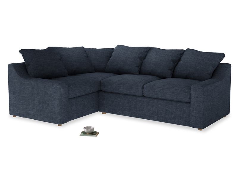 Large Left Hand Cloud Corner Sofa in Selvedge Blue Clever Laundered Linen
