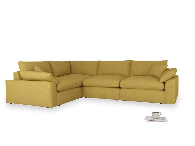 Large left hand Cuddlemuffin Modular Corner Sofa in Easy Yellow Clever Woolly Fabric