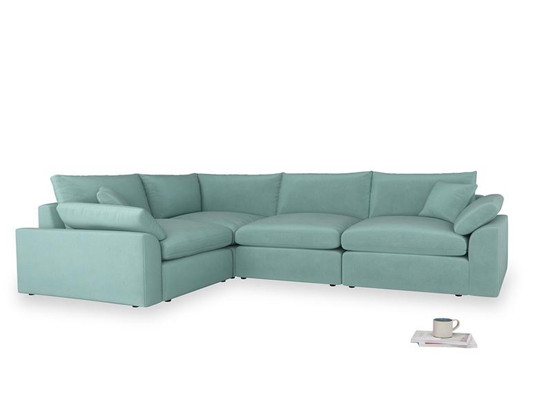 Large left hand Cuddlemuffin Modular Corner Sofa in Greeny Blue Clever Deep Velvet