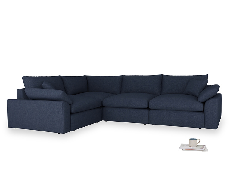 Large left hand Cuddlemuffin Modular Corner Sofa in Night Owl Blue Clever Woolly Fabric