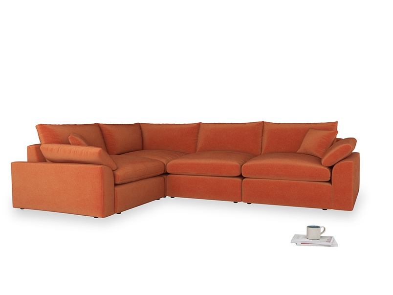 Large left hand Cuddlemuffin Modular Corner Sofa in Old Orange Clever Deep Velvet