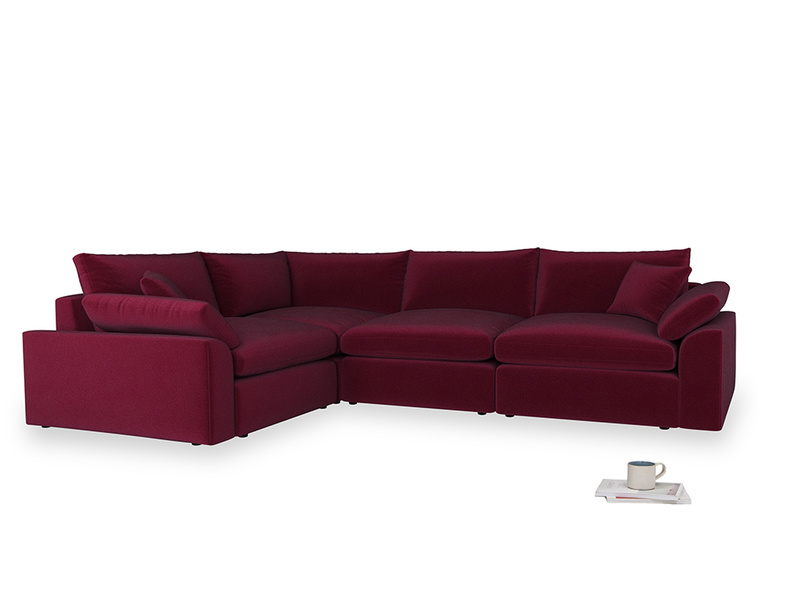 Large left hand Cuddlemuffin Modular Corner Sofa in Merlot Plush Velvet