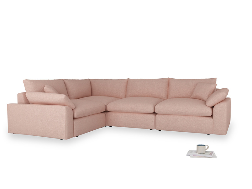 Large left hand Cuddlemuffin Modular Corner Sofa in Pale Pink Clever Woolly Fabric