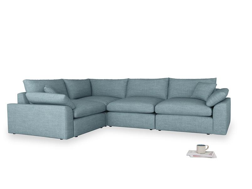 Large left hand Cuddlemuffin Modular Corner Sofa in Soft Blue Clever Laundered Linen