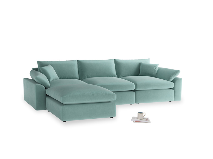 Large left hand Cuddlemuffin Modular Chaise Sofa in Greeny Blue Clever Deep Velvet