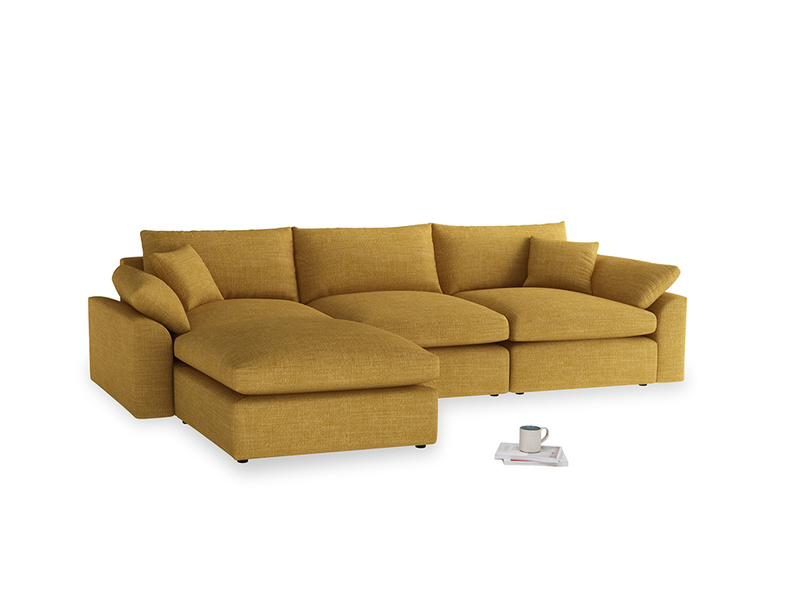 Large left hand Cuddlemuffin Modular Chaise Sofa in Mellow Yellow Clever Laundered Linen