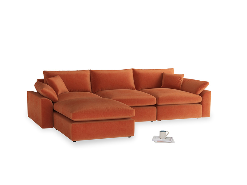 Large left hand Cuddlemuffin Modular Chaise Sofa in Old Orange Clever Deep Velvet