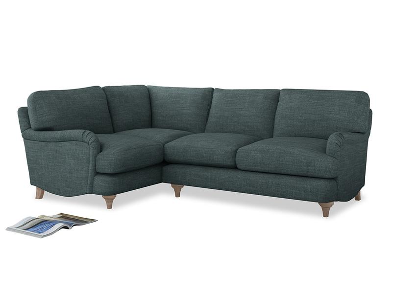 Large Left Hand Jonesy Corner Sofa in Anchor Grey Clever Laundered Linen