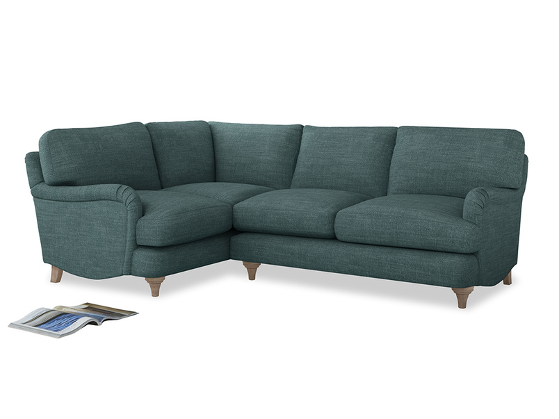Large Left Hand Jonesy Corner Sofa in Blue Turtle Clever Laundered Linen