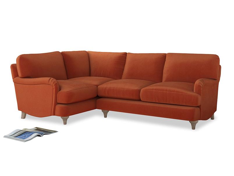Large Left Hand Jonesy Corner Sofa in Old Orange Clever Deep Velvet
