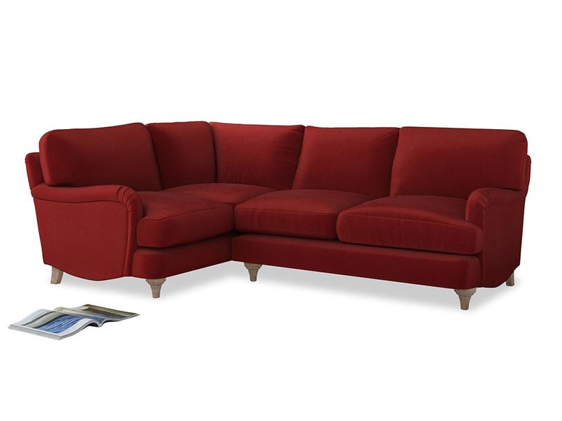 Large Left Hand Jonesy Corner Sofa in Rusted Ruby Vintage Velvet