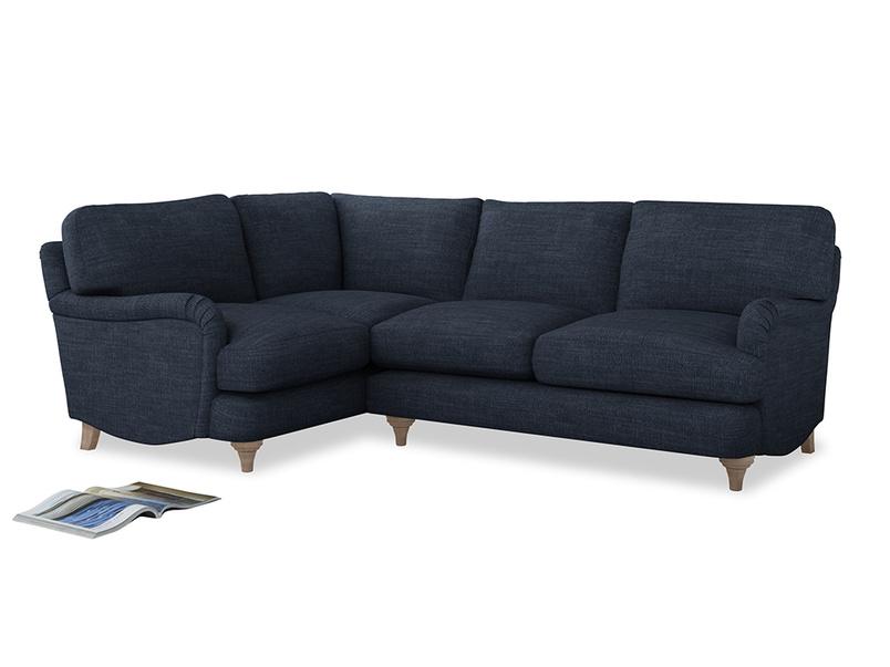 Large Left Hand Jonesy Corner Sofa in Selvedge Blue Clever Laundered Linen
