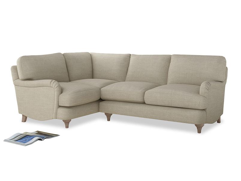 Large Left Hand Jonesy Corner Sofa in Shell Clever Laundered Linen
