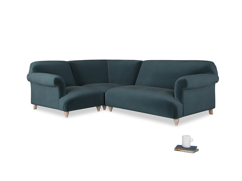 Large left hand Soufflé Modular Corner Sofa in Bluey Grey Clever Deep Velvet with both arms