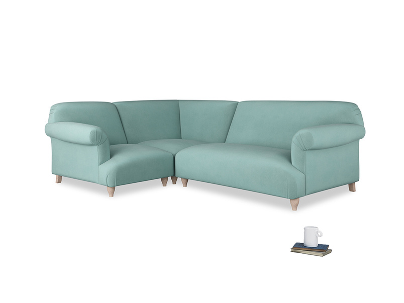 Large left hand Soufflé Modular Corner Sofa in Greeny Blue Clever Deep Velvet with both arms