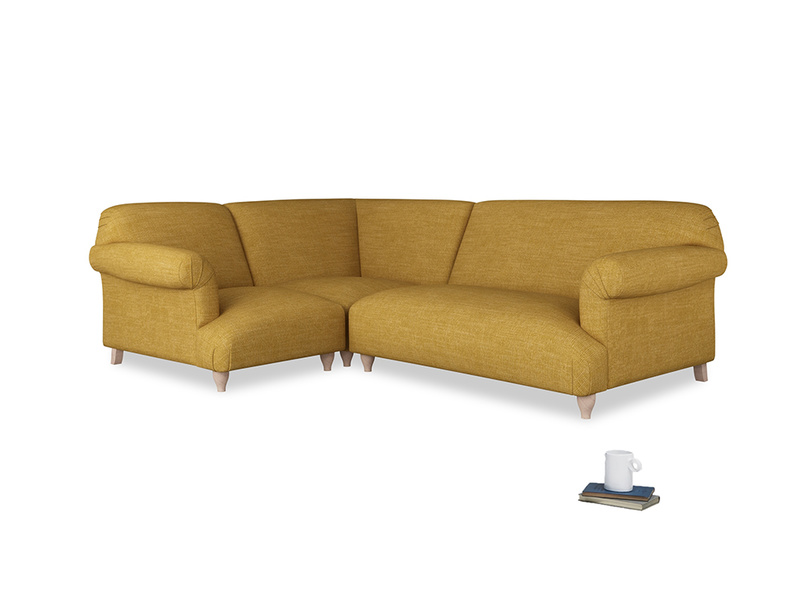 Large left hand Soufflé Modular Corner Sofa in Mellow Yellow Clever Laundered Linen with both arms