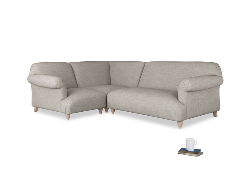 Large left hand Soufflé Modular Corner Sofa in Grey Daybreak Clever Laundered Linen with both arms