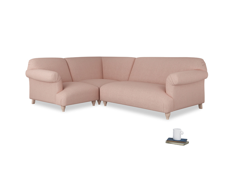 Large left hand Soufflé Modular Corner Sofa in Pale Pink Clever Woolly Fabric with both arms