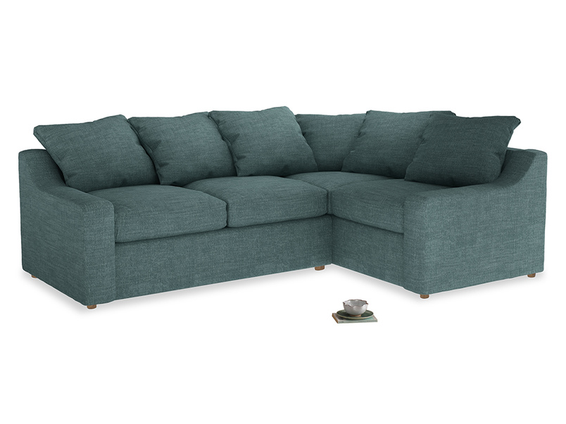 Large right hand Cloud Corner Sofa Bed in Blue Turtle Clever Laundered Linen