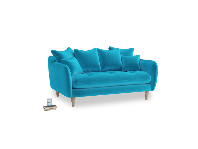 Small Skinny Minny Sofa in Azure plush velvet