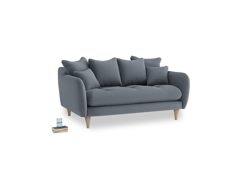 Small Skinny Minny Sofa in Blue Storm washed cotton linen