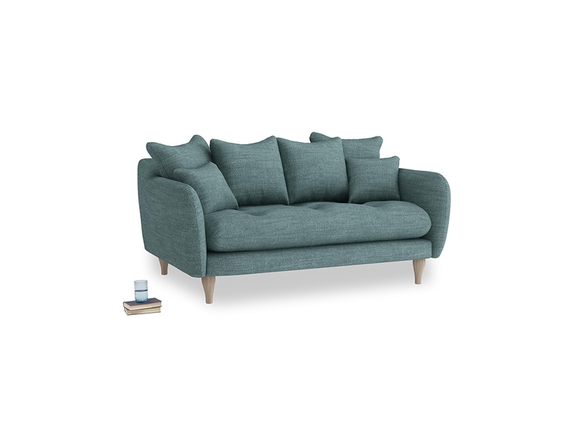 Small Skinny Minny Sofa in Blue Turtle Laundered Linen