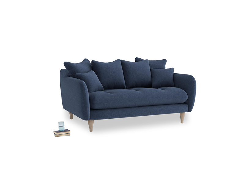 Small Skinny Minny Sofa in Navy blue brushed cotton