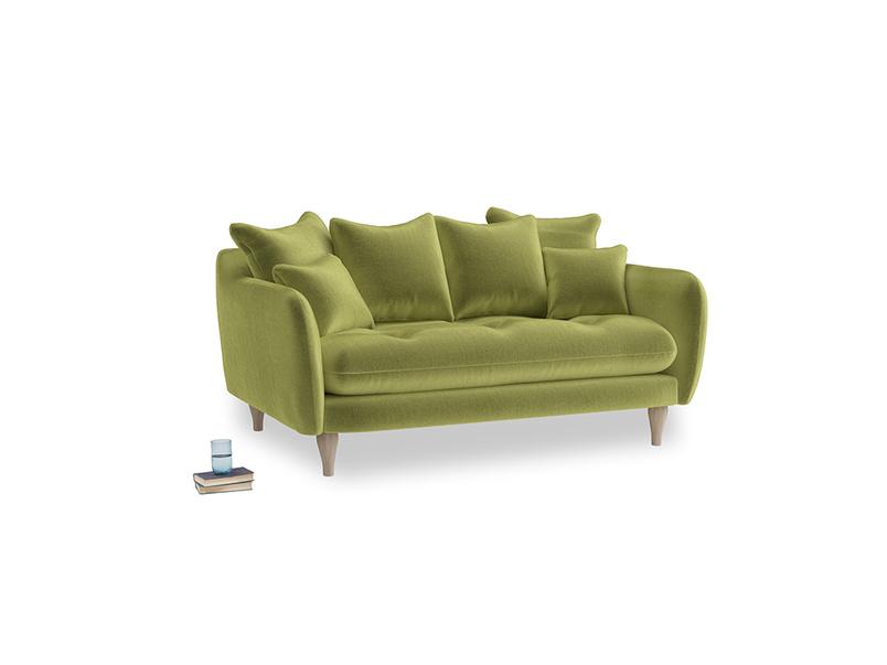 Small Skinny Minny Sofa in Olive plush velvet
