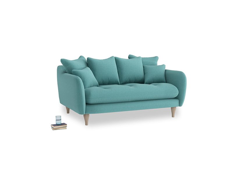 Small Skinny Minny Sofa in Peacock brushed cotton