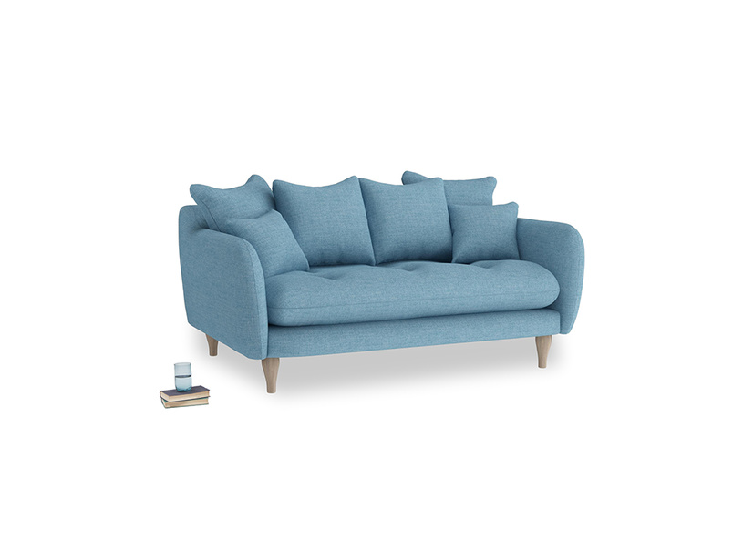 Small Skinny Minny Sofa in Moroccan blue clever woolly fabric