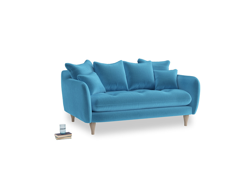 Small Skinny Minny Sofa in Teal Blue plush velvet
