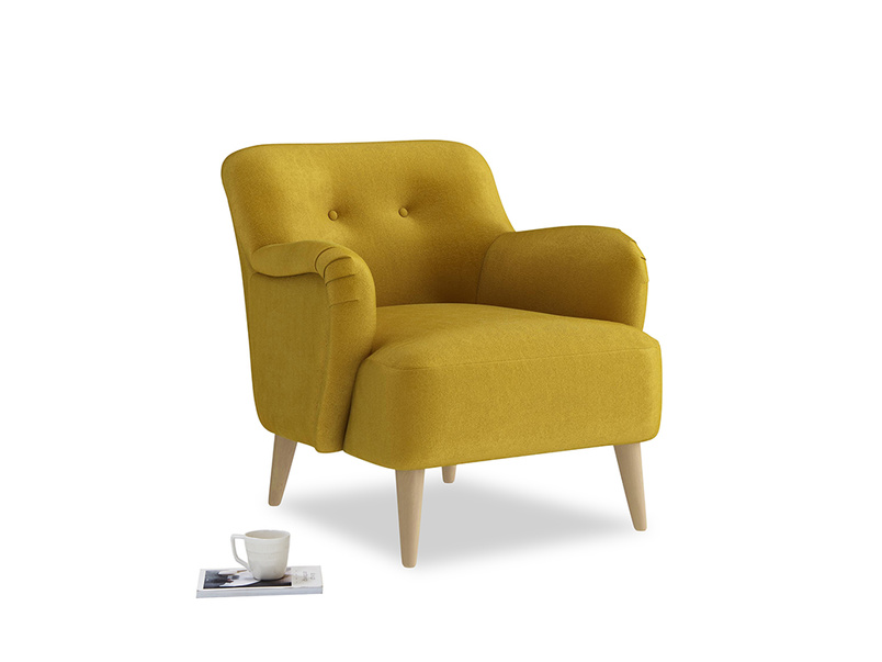 Diggidy Armchair in Burnt yellow vintage velvet