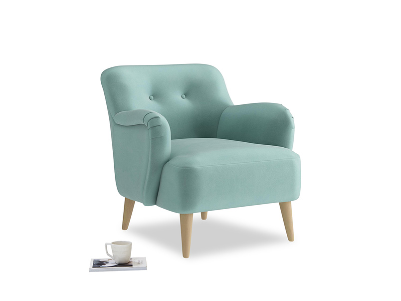 Diggidy Armchair in Greeny Blue Clever Deep Velvet
