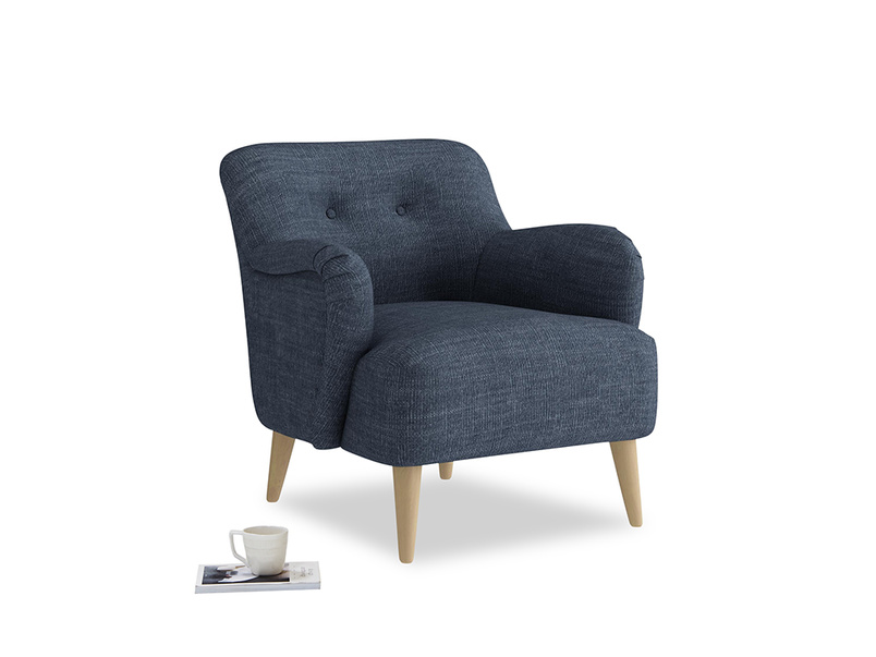 Diggidy Armchair in Selvedge Blue Clever Laundered Linen