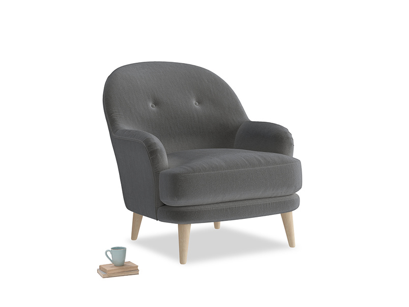 Sweetspot Armchair in Steel clever velvet