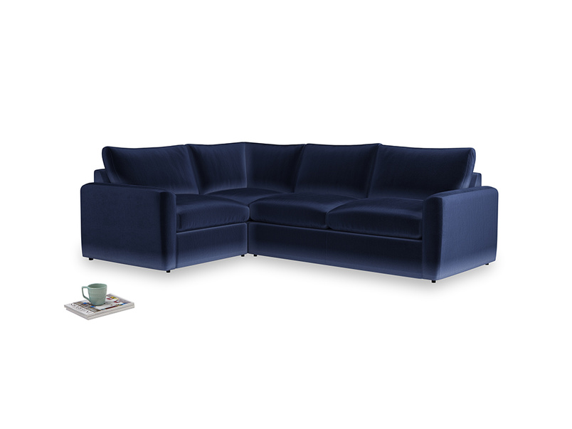 Large left hand Chatnap modular corner storage sofa in Goodnight blue Clever Deep Velvet with both arms