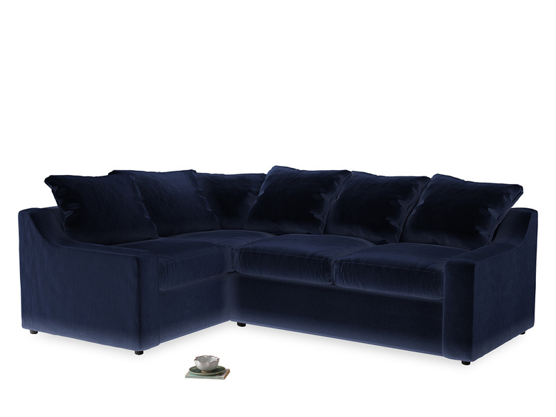 Large Left Hand Cloud Corner Sofa in Goodnight blue Clever Deep Velvet