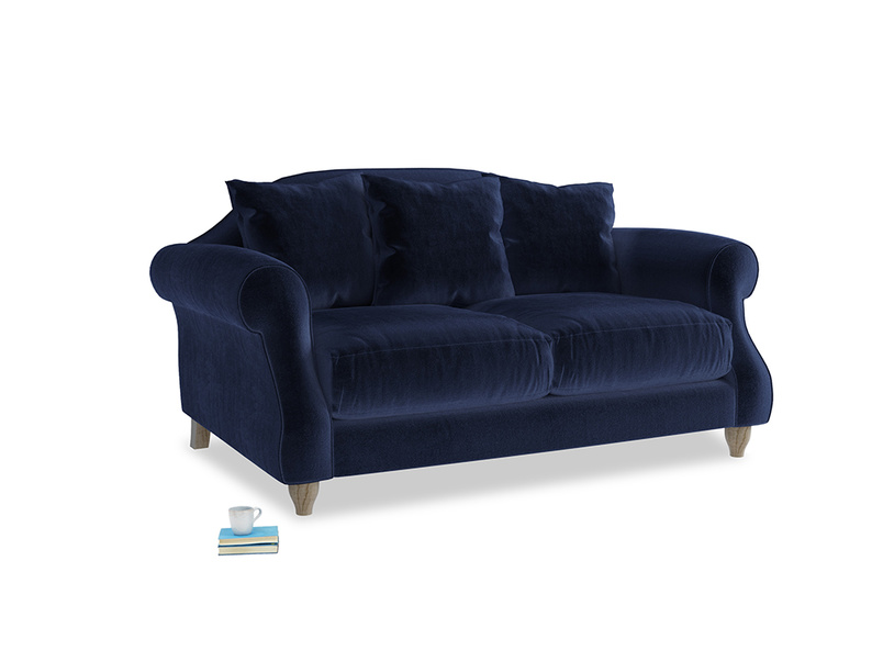 Small Sloucher Sofa in Goodnight blue Clever Deep Velvet