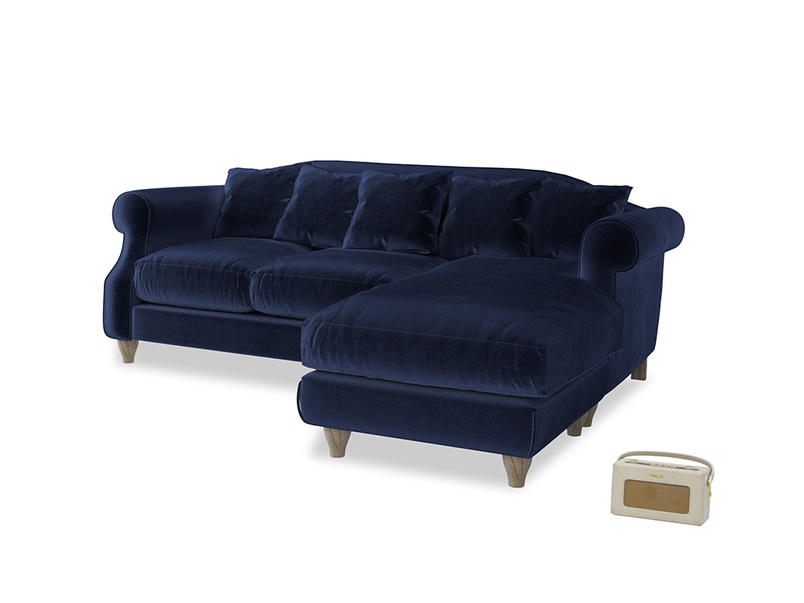 Large right hand Sloucher Chaise Sofa in Goodnight blue Clever Deep Velvet