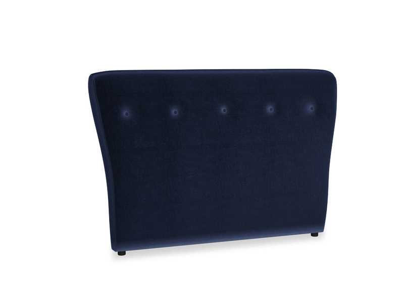 Double Smoke Headboard in Goodnight blue Clever Deep Velvet