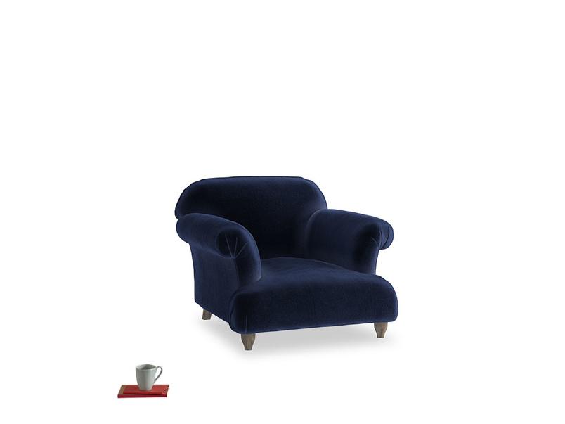 Soufflé Armchair in Goodnight blue Clever Deep Velvet