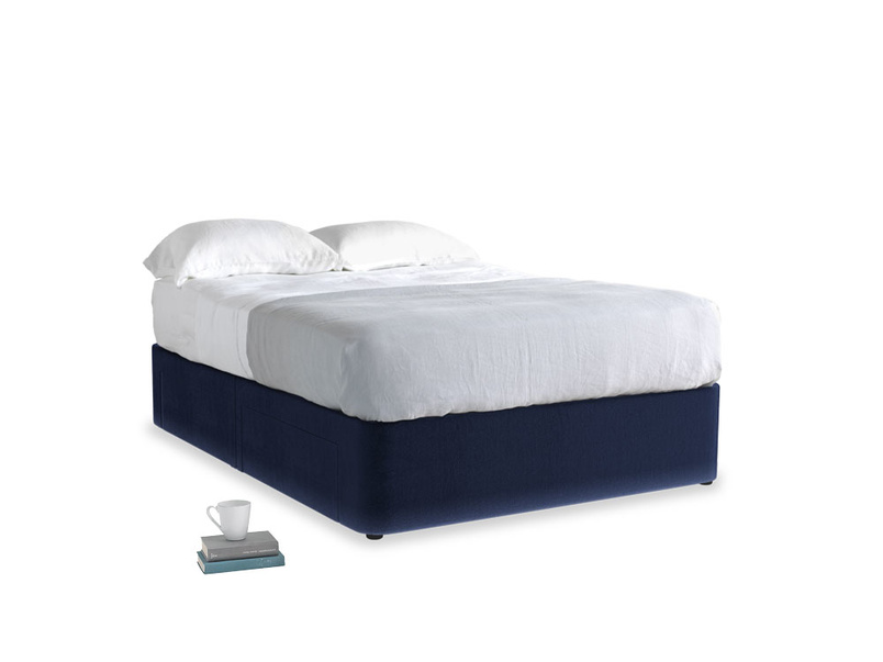 Double Tight Space Storage Bed in Goodnight blue Clever Deep Velvet
