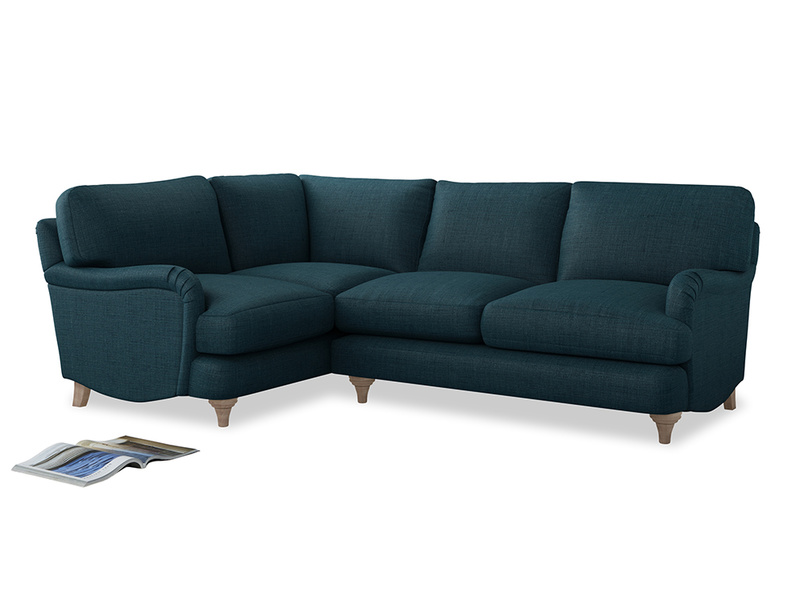 Large Left Hand Jonesy Corner Sofa in Harbour Blue Vintage Linen