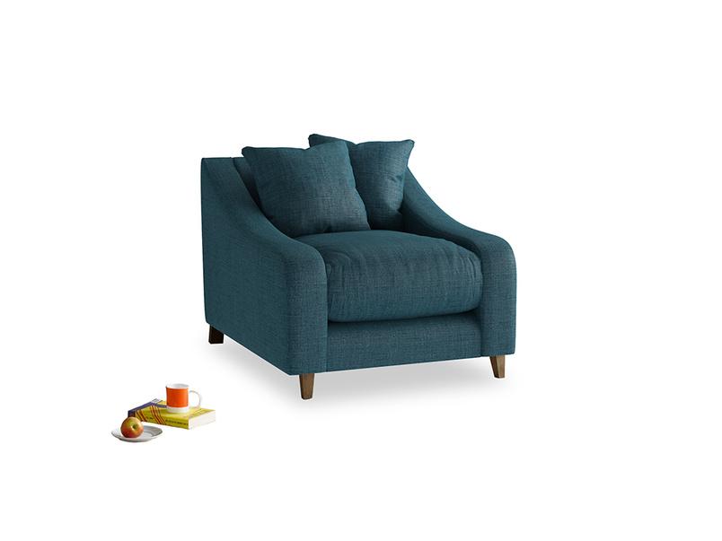Oscar Armchair in Harbour Blue Vintage Linen