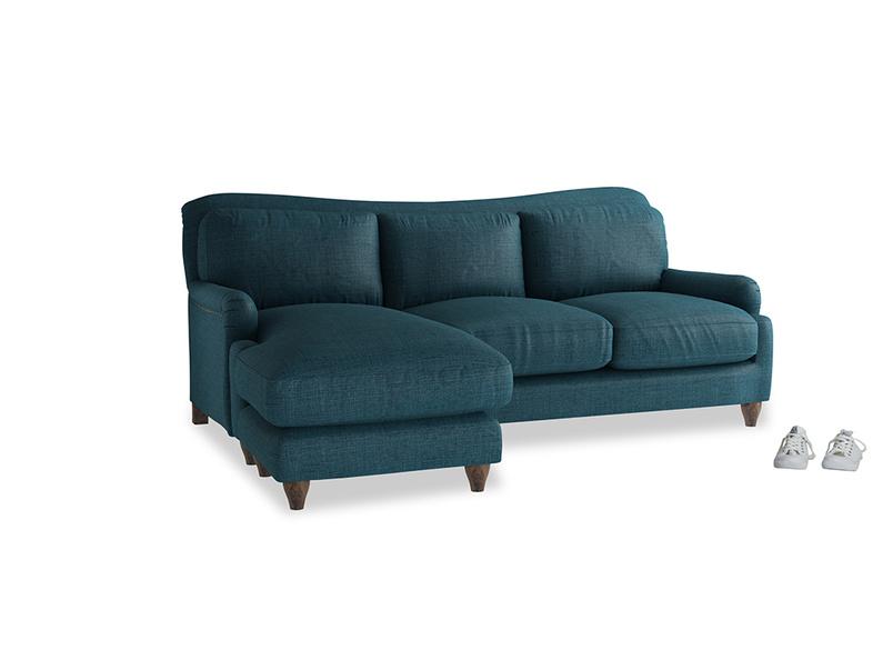 Large left hand Pavlova Chaise Sofa in Harbour Blue Vintage Linen