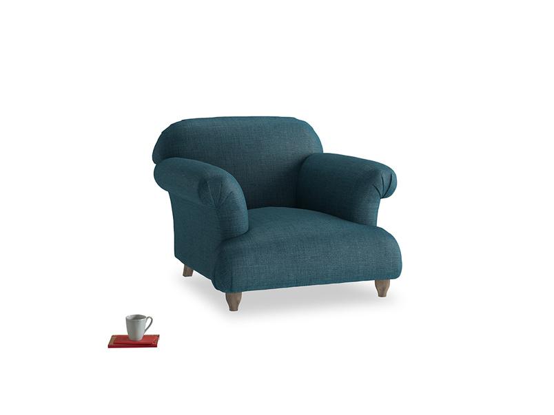 Soufflé Armchair in Harbour Blue Vintage Linen