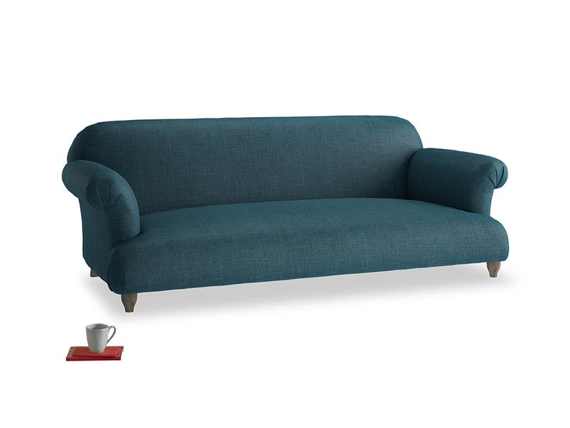 Large Soufflé Sofa in Harbour Blue Vintage Linen