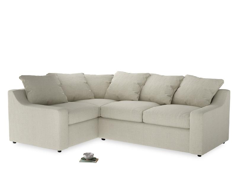 Large Left Hand Cloud Corner Sofa in Stone Vintage Linen