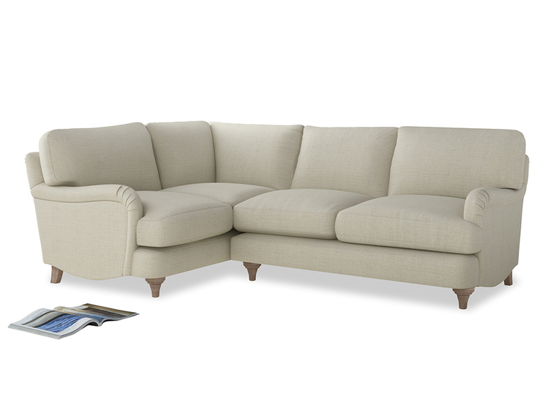 Large Left Hand Jonesy Corner Sofa in Stone Vintage Linen