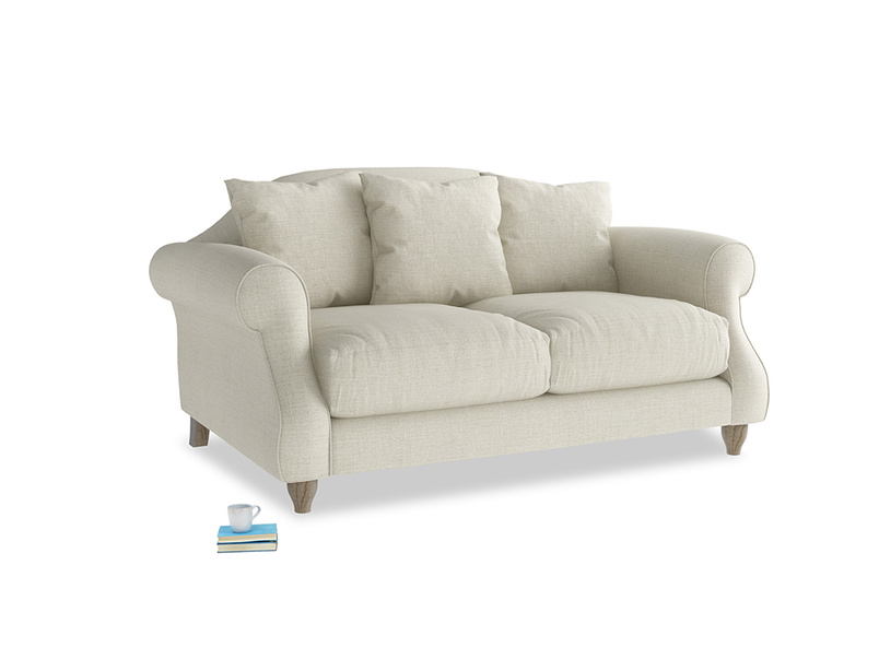 Small Sloucher Sofa in Stone Vintage Linen